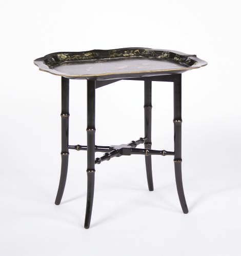 A VICTORIAN PAPIER MACHE TRAY ON LATER STAND,