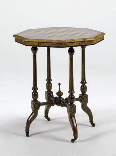 A VICTORIAN WALNUT INLAID AND EBONIZED OCTAGONAL-FORM GAMES TABLE,