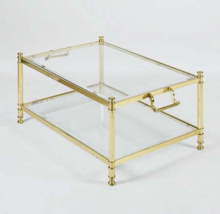 A CONTEMPORARY BRASS AND GLASS LOW TABLE,