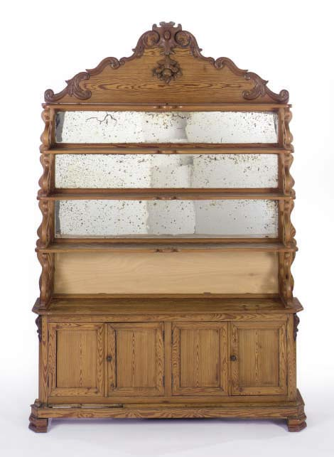 A VICTORIAN STRIPPED PINE MIRROR BACK WELSH STYLE DRESSER,