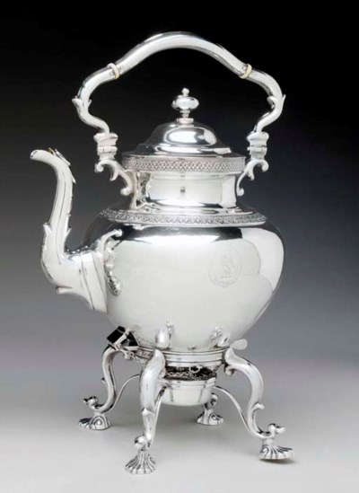 A SILVER KETTLE-ON-STAND**