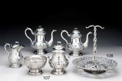 A SILVER FIVE-PIECE TEA AND CO