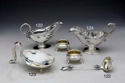 A SILVER SAUCEBOAT AND A PAIR