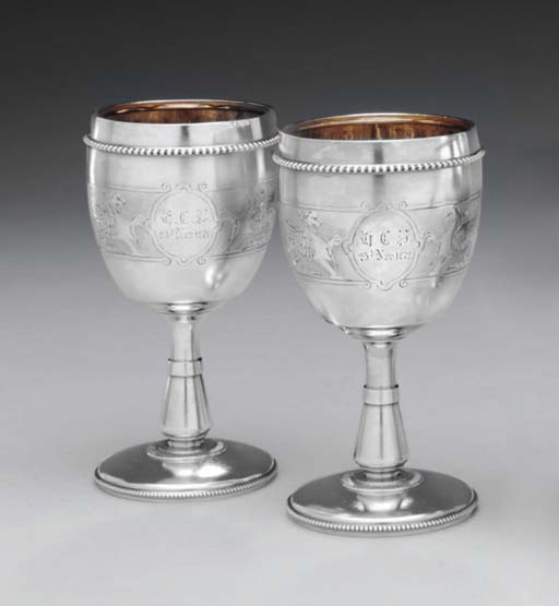 A PAIR OF SILVER GOBLETS