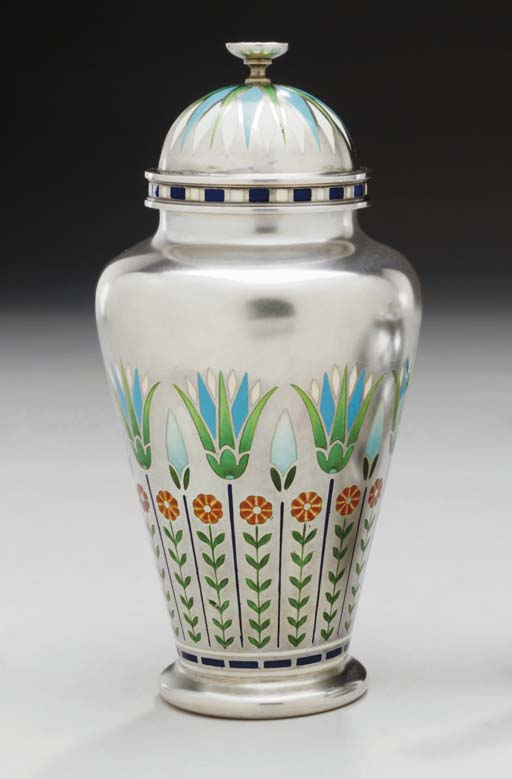 AN UNUSUAL SILVER AND ENAMEL T