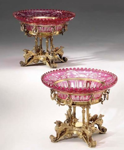 A PAIR OF SILVER-GILT AND CRAN