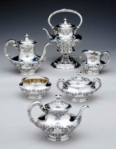 A SILVER SIX-PIECE TEA AND COF