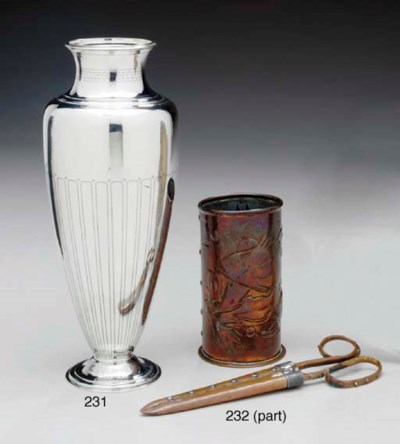 A COPPER BEAKER AND PAIR OF CO