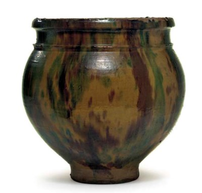 A LARGE REDWARE POT