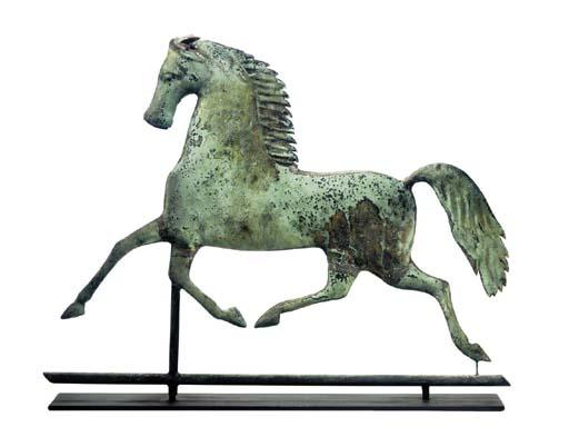 "A MOLDED GILT COPPER ""BLACK-HAWK"" RUNNING HORSE WEATHERVANE"