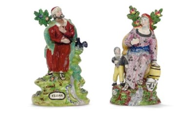 TWO STAFFORDSHIRE PEARLWARE FI