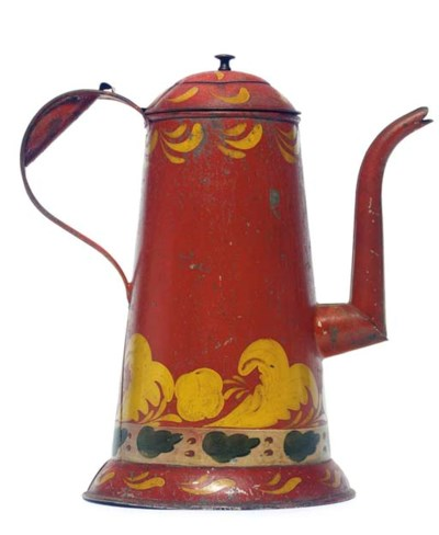 A RED PAINTED TOLEWARE GOOSENE