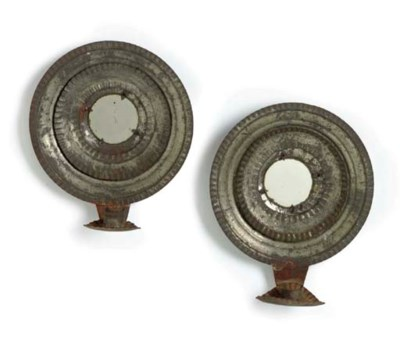 A PAIR OF TIN WALL SCONCES