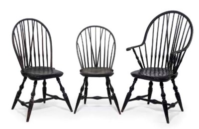 A GROUP OF THREE BLACK-PAINTED