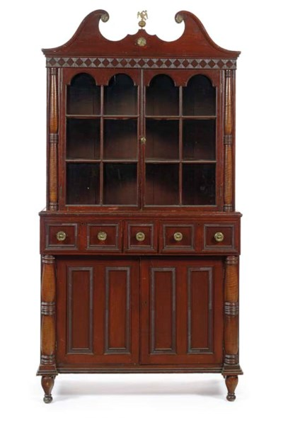 A FEDERAL RED-STAINED CUPBOARD