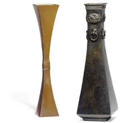 Two Japanese Bronze Flower Vas