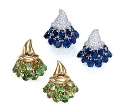 TWO PAIRS OF GEM-SET AND 18K G