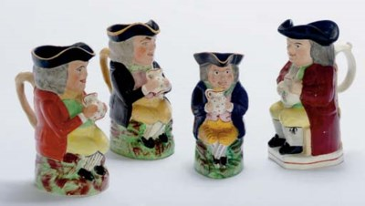 FOUR ENGLISH EARTHENWARE TOBY