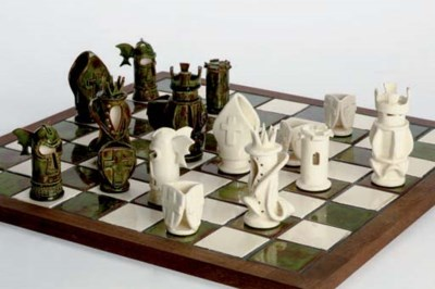 A DODSON POTTERY CHESS SET AND