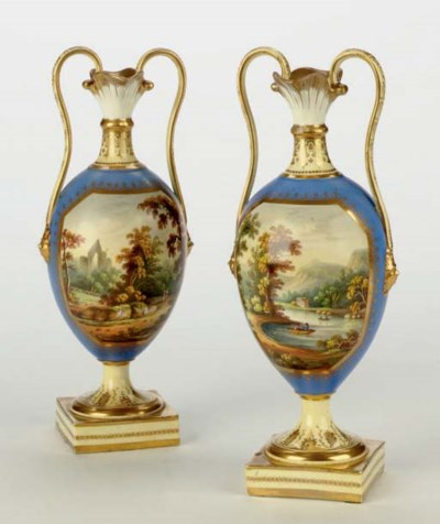 TWO ENGLISH PORCELAIN AMPHORA