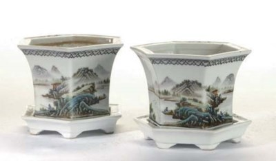 TWO PAIRS OF CHINESE ENAMELLED