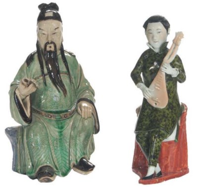 TWO CHINESE GREEN GLAZED POTTE