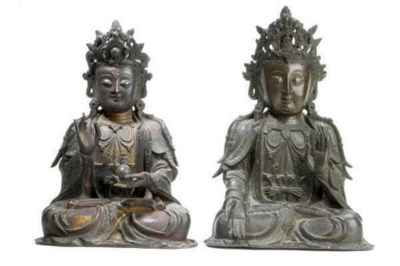 TWO CHINESE BRONZE FIGURES OF