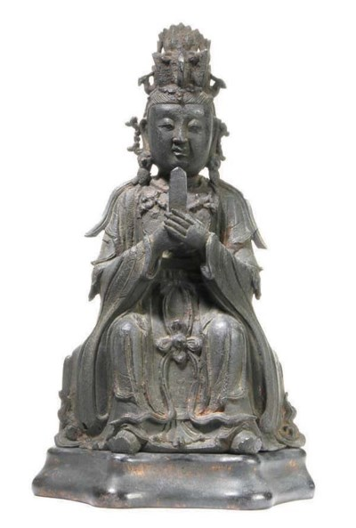 A CHINESE BRONZE FIGURE AND FI