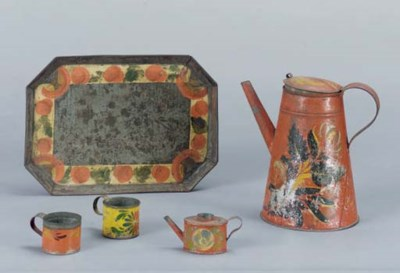 A GROUP OF PAINTED TIN WARE,