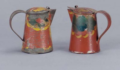 TWO PAINTED TIN WARE MILK OR S