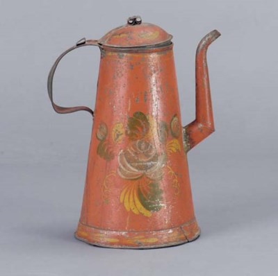 A PAINTED TIN WARE COFFEE POT,
