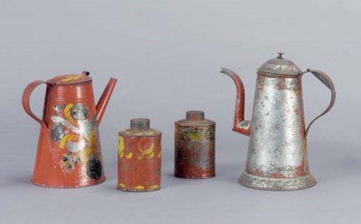 A GROUP OF PAINTED TIN WARE AR