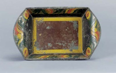 A PAINTED TIN WARE BREAD TRAY,