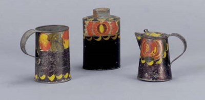 A GROUP OF THREE PAINTED TIN W