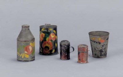 A GROUP OF FIVE PAINTED TIN WA
