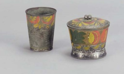 TWO PAINTED TIN WARE ARTICLES,