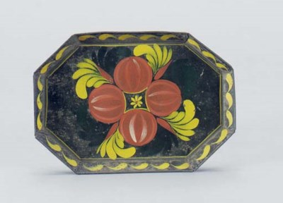 ONE OCTAGONAL PAINTED TIN WARE