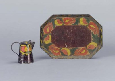 A PAINTED TIN WARE MILK OR SYR