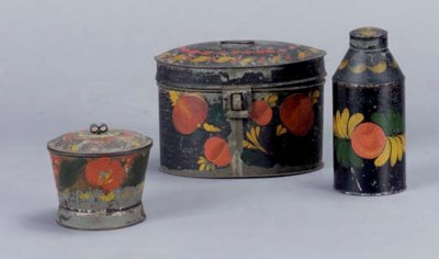 THREE PAINTED TIN WARE ARTICLE