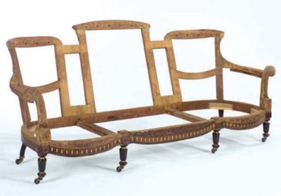 A TRIPLE CHAIR BACK ROSEWOOD V