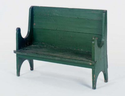 A GREEN PAINTED CHILD'S SETTEE