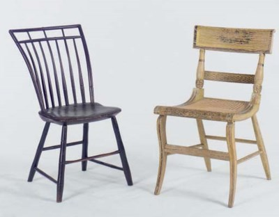TWO PAINTED COUNTRY SIDE CHAIR