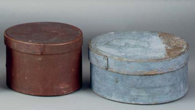 TWO ROUND PAINTED COVERED BOXE