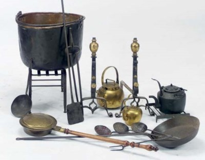 A GROUP OF IRON AND BRASS FIRE