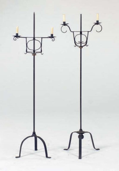 TWO WROUGHT IRON FLOOR LAMPS,