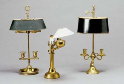 TWO BRASS BOUILLOTTE LAMPS WIT