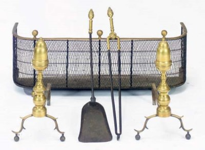 A PAIR OF ACORN-TOP BRASS ANDI