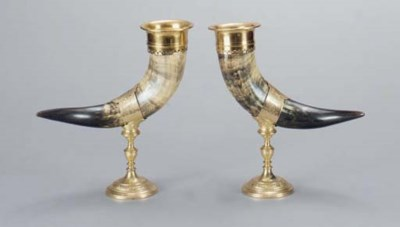 A PAIR OF BRASS MOUNTED HORN C