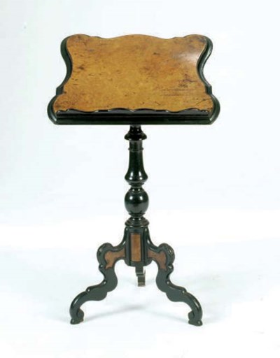 A VICTORIAN EBONIZED AND BURR-