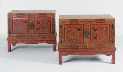 A PAIR OF CHINESE LACQUER CABI